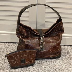 Dooney & Bourke Lock Sac Dark Brown Croc Purse